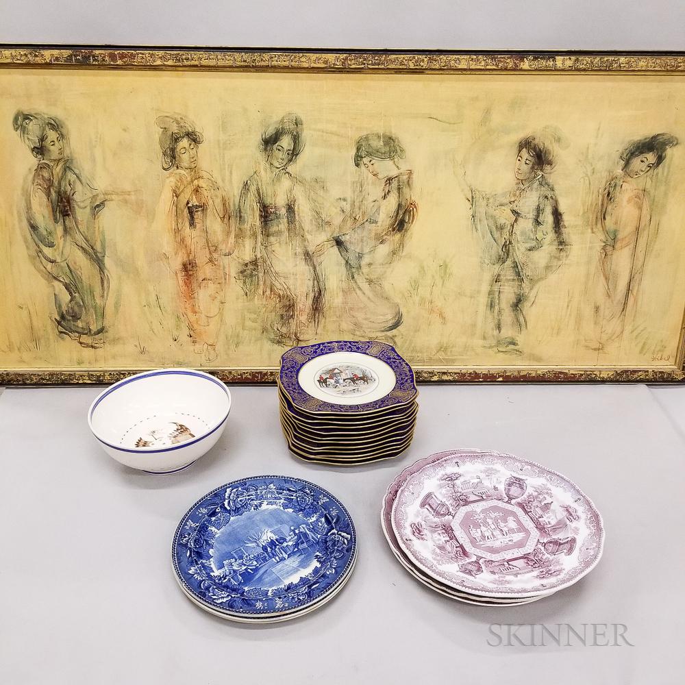 Framed Edna Hibel Print and Twenty Transfer-decorated Dishes.     Estimate $150-250
