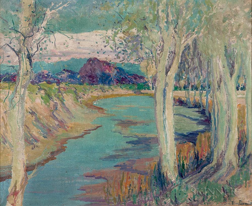 Jessie Benton Evans (American, 1866-1954)      Aspens Along the River's Edge