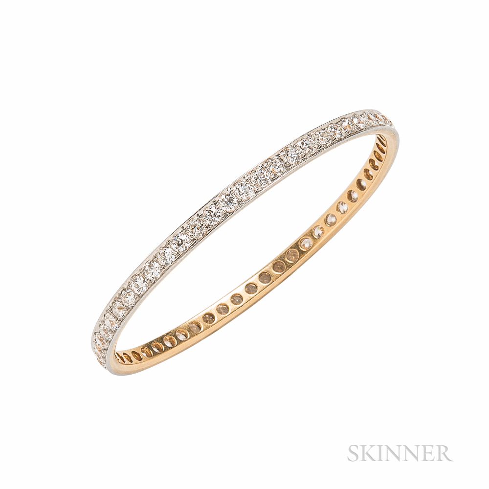 Edwardian Diamond Bangle Bracelet