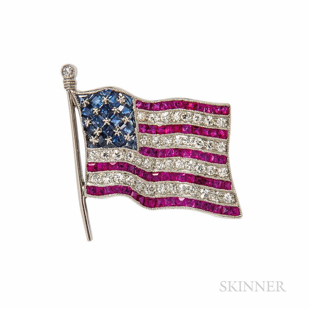 Platinum, Diamond, Sapphire, and Ruby American Flag Brooch