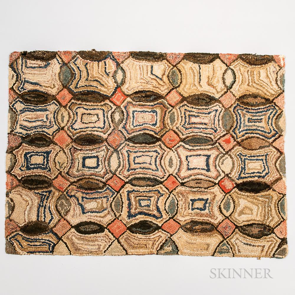 Geometric Pattern Hooked Rug