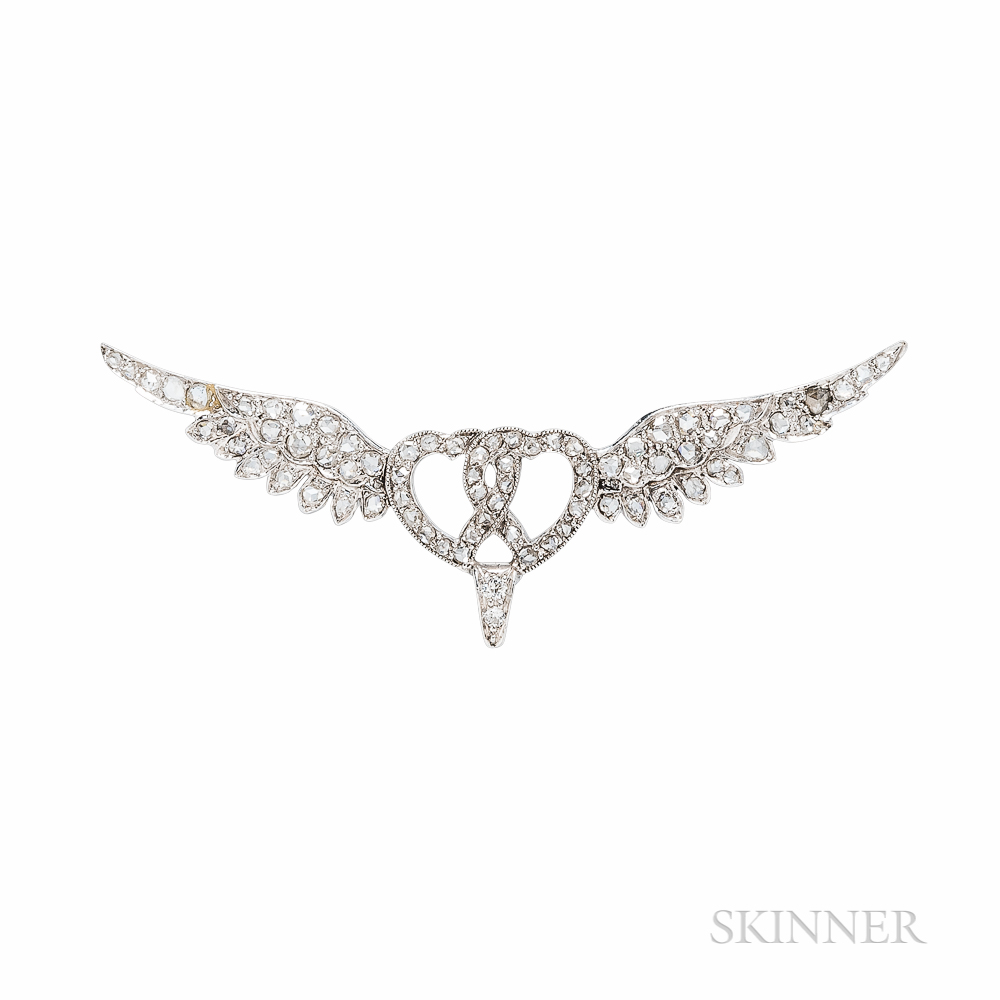 Lacloche Freres Belle Epoque Platinum and Diamond Brooch