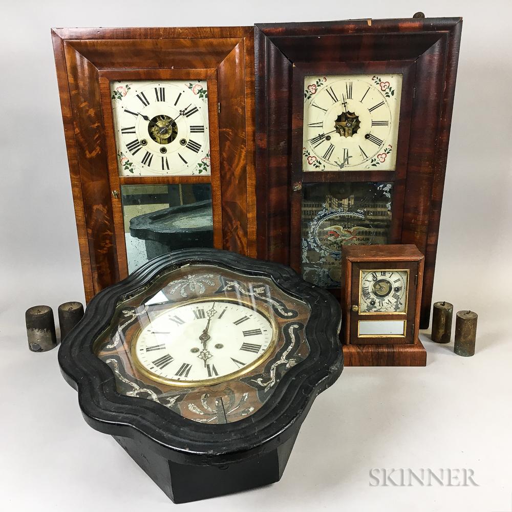 Three Connecticut Shelf Clocks and Two Wall Clocks