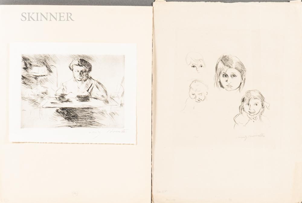 Lovis Corinth (German, 1858-1925)      Two Prints: Kinderköpfe (Heads of Children)