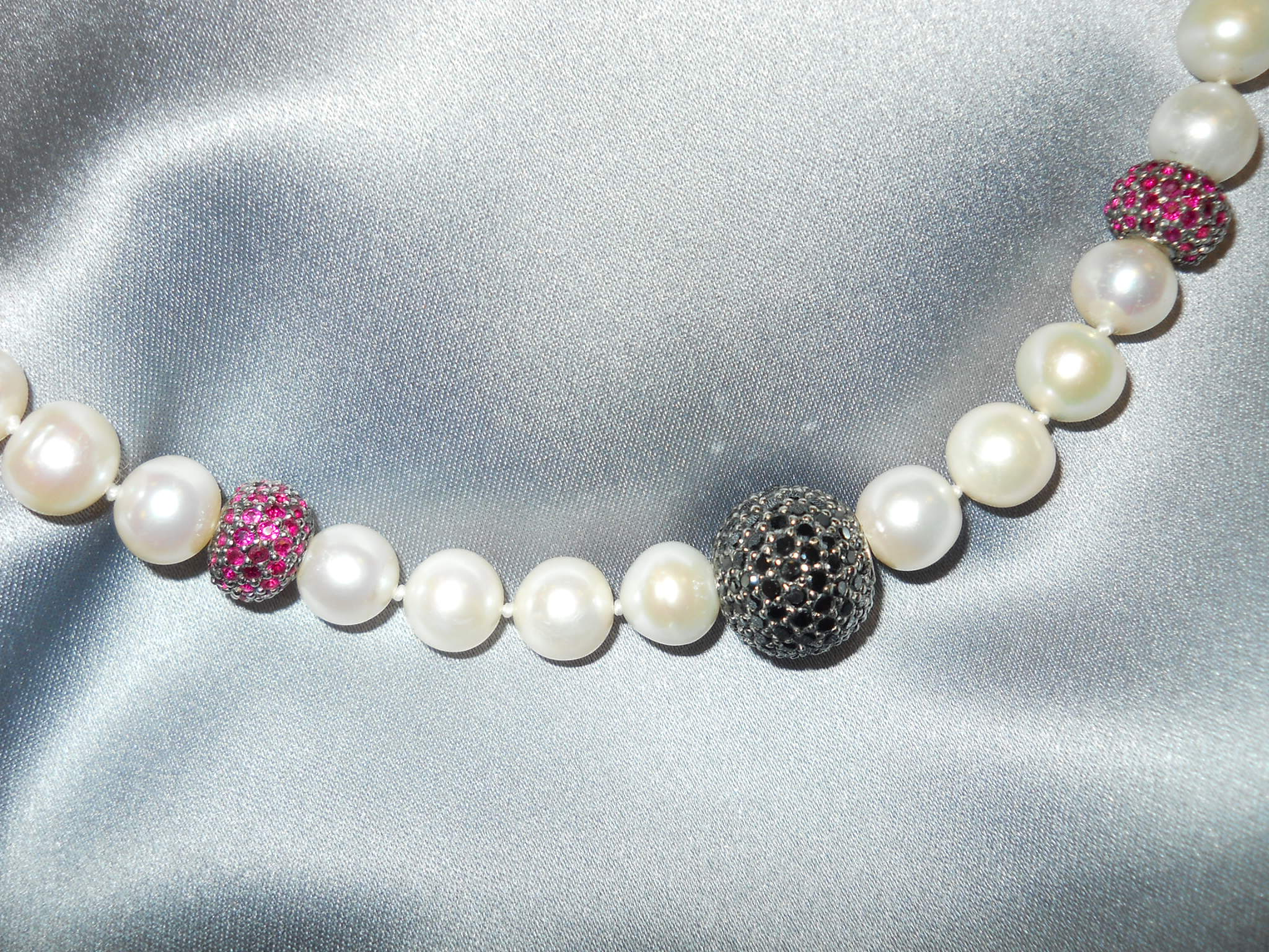 Freshwater Pearl and Black Diamond Necklace