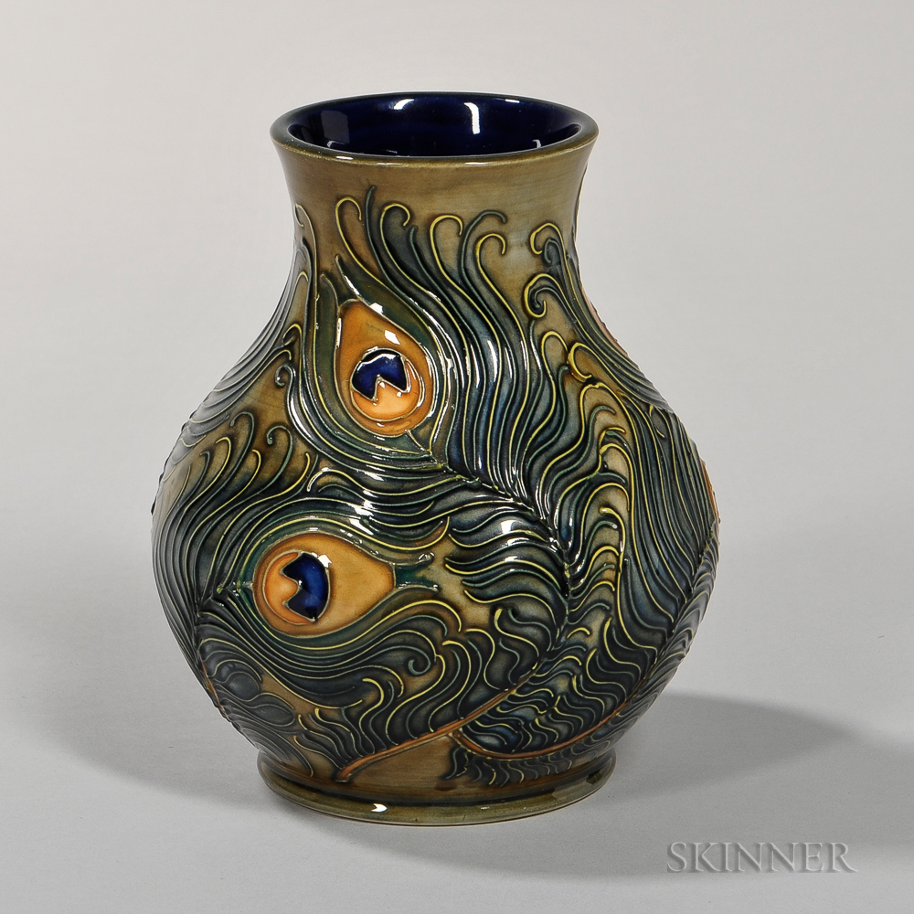 Moorcroft Peacock Feather Vase