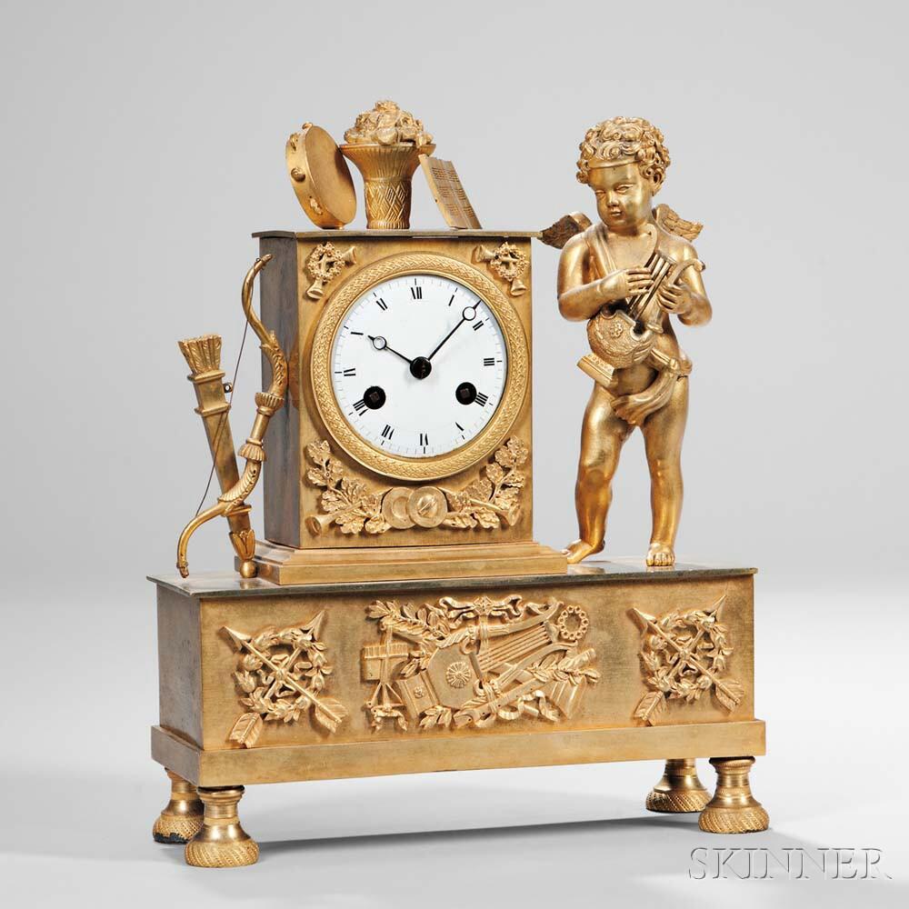 French Gilt-bronze Figural Mantel Clock