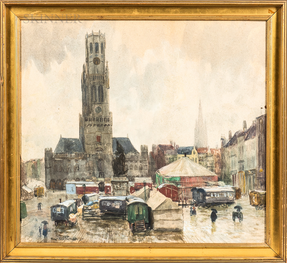 Continental School, 20th Century      Bruges Square with Circus Wagons and Tent