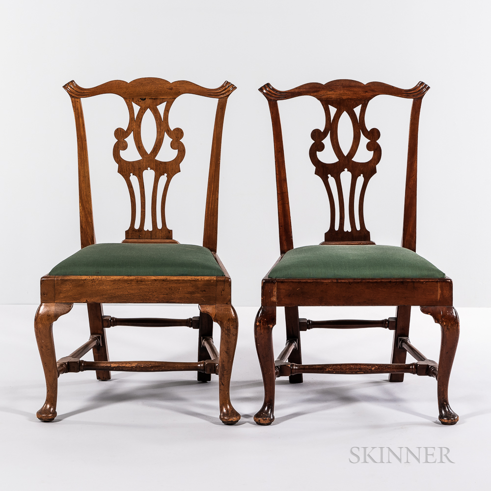 Set of Three Chippendale Carved Mahogany Side Chairs