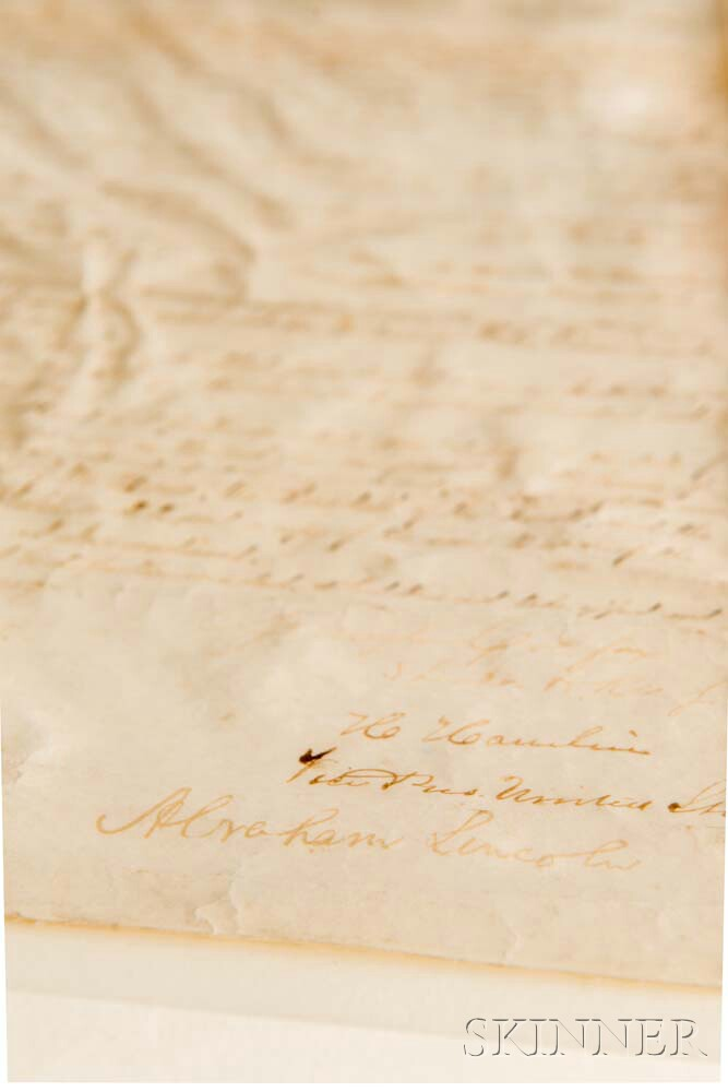 Lincoln, Abraham (1809-1865) Manuscript Document Signed, 27 February 1865, Granting Pensions to Revolutionary War Veterans.