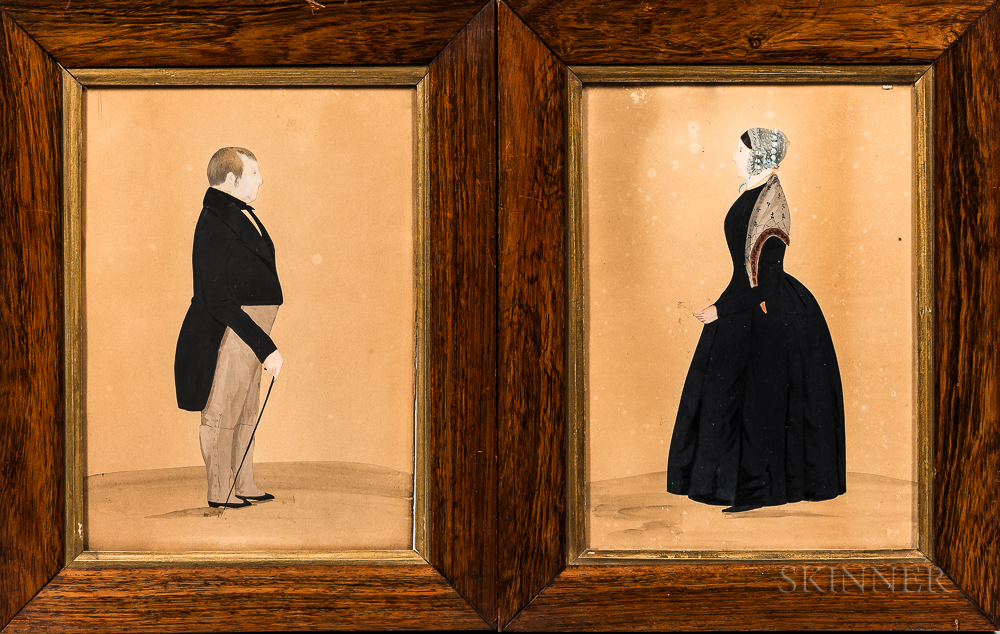 Anglo/American School, 19th Century      Pair of Portraits of a Man and Woman