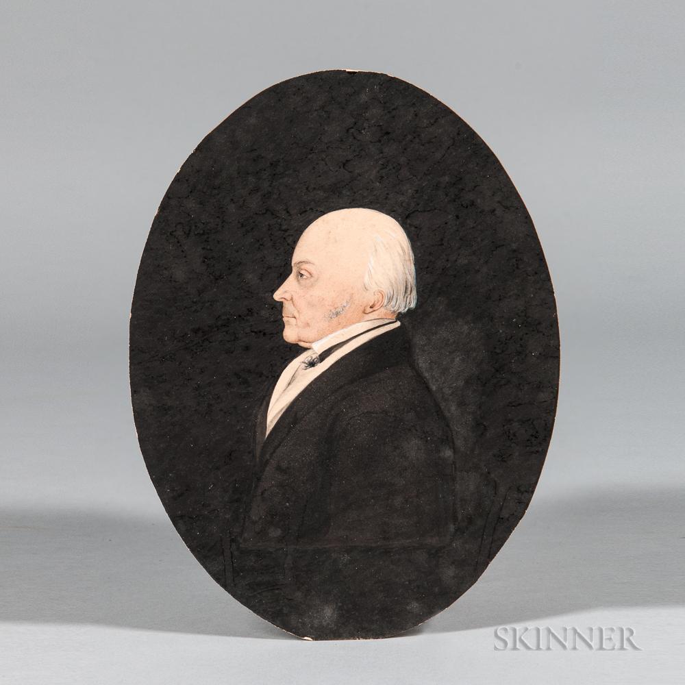 Attributed to James Sharples Sr. (Pennsylvania/New York/England, 1751/52-1811)      Profile Portrait of John Quincy Adams