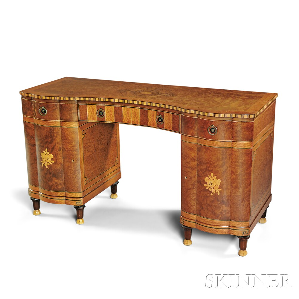 Art Deco Inlaid Burlwood Desk