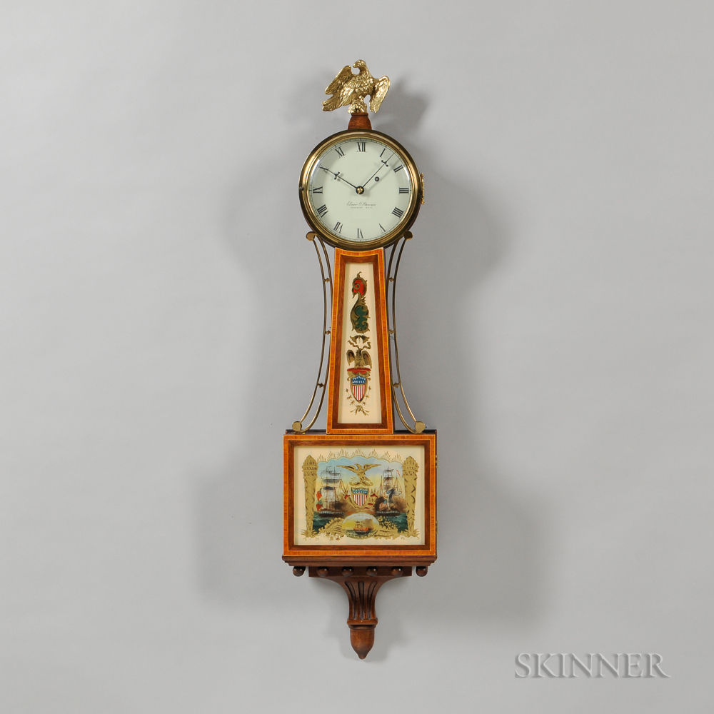 "Reproduction Elmer O. Stennes Mahogany Patent Timepiece or ""Banjo"" Clock"