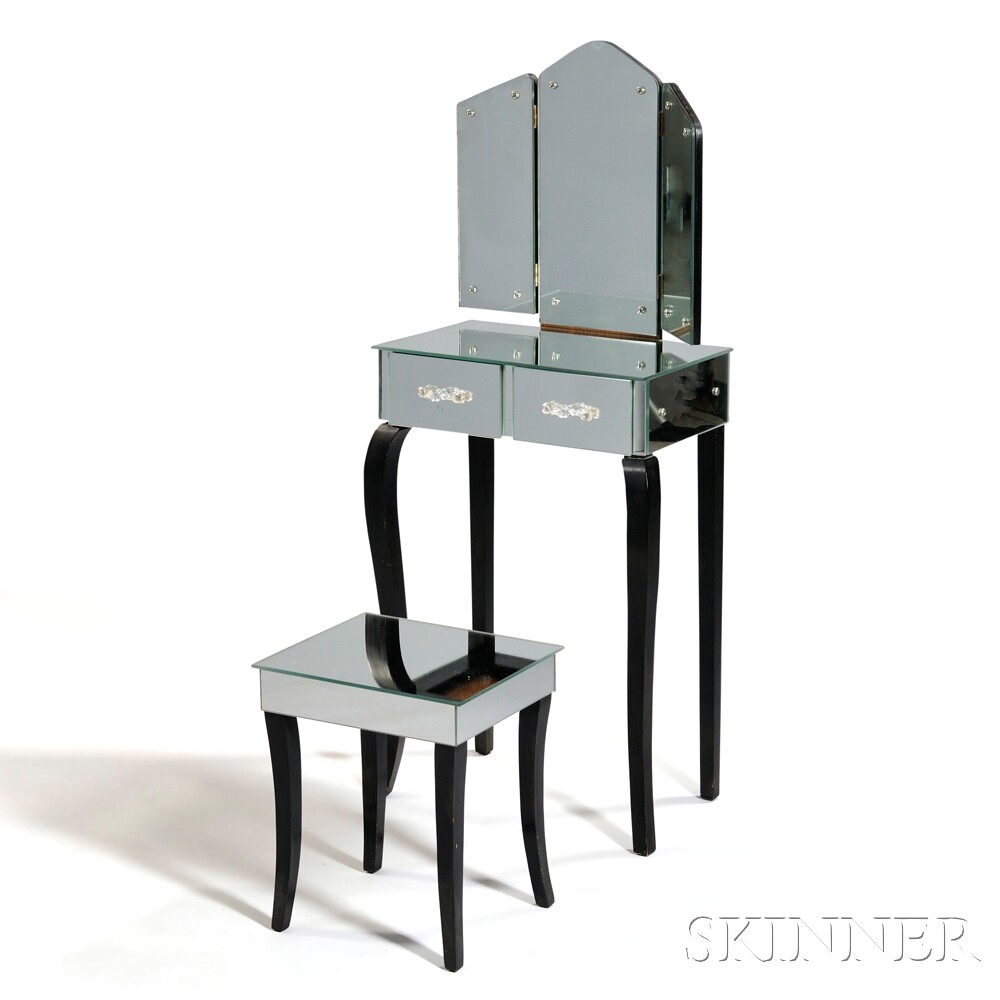 Art Deco-style Mirrored Vanity with Stool