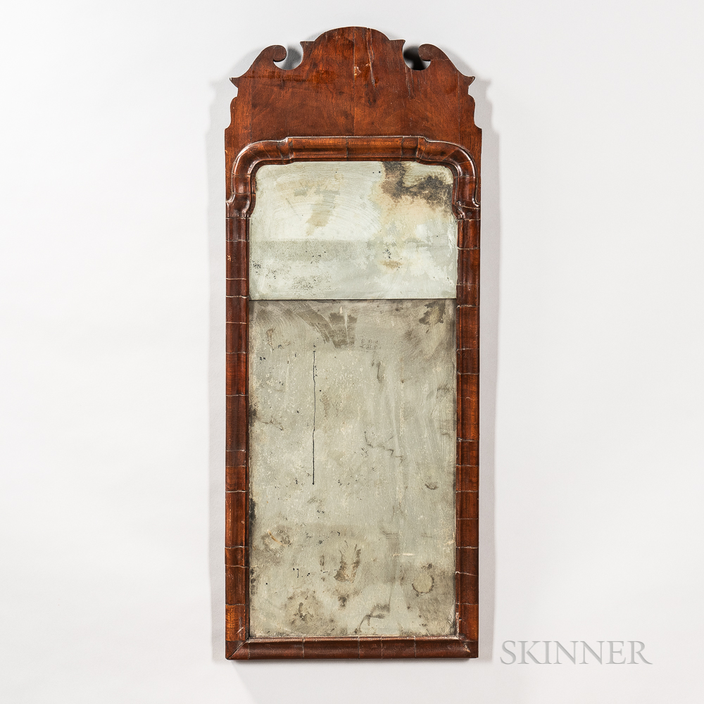 Queen Anne Walnut Veneer Mirror