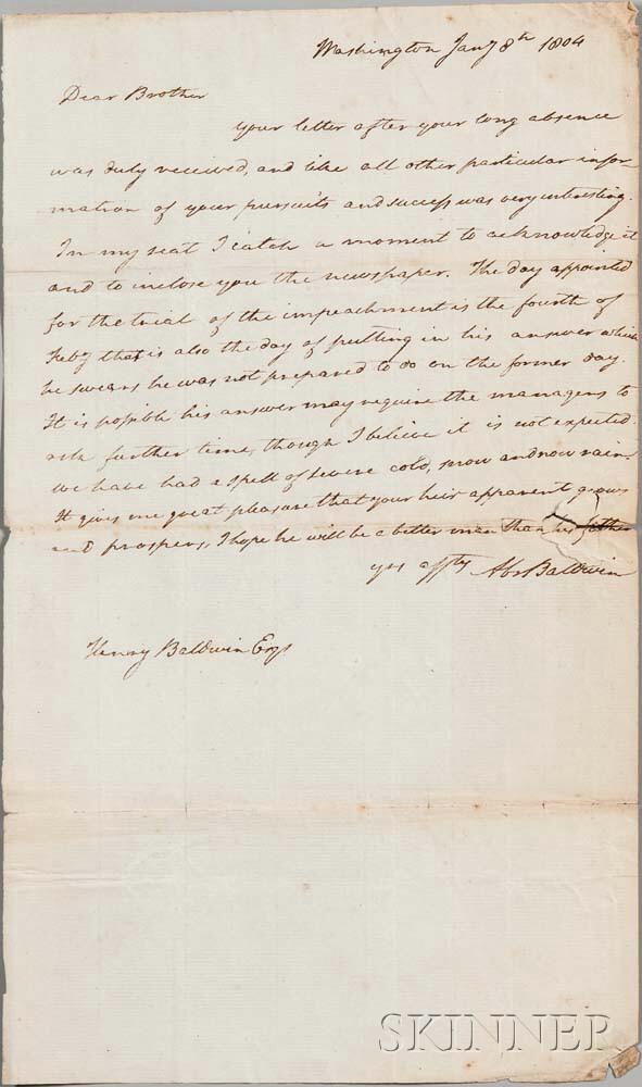 Baldwin, Abraham (1754-1807) Autograph Letter Signed, 8 January 1804.
