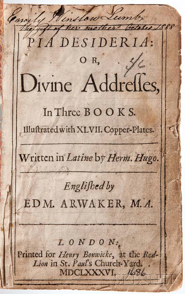 Hugo, Herman (1588-1629) Pia Desideria: or Divine Addresses.