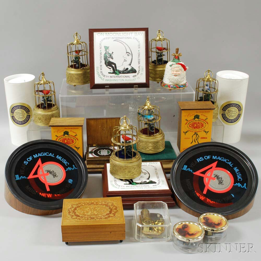 """Collection of """"Musical Box Society"""" Souvenir and Other Boxes"""