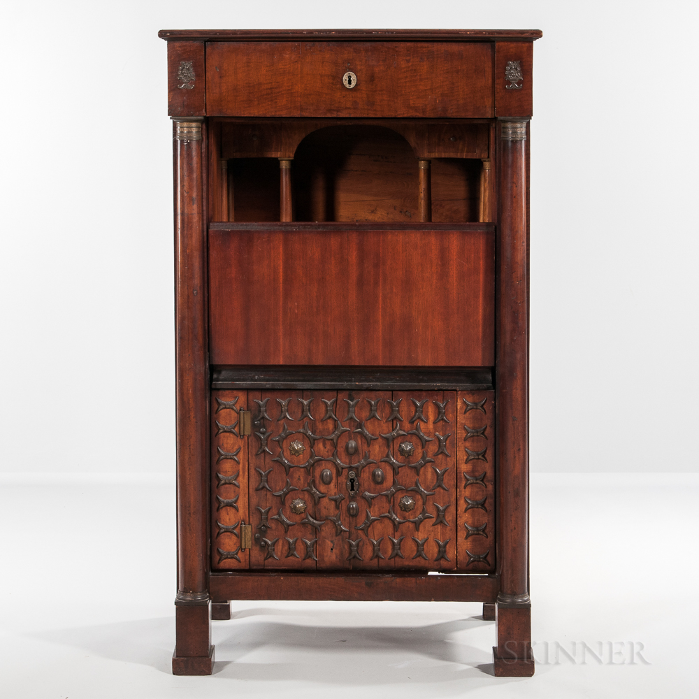 Neoclassical-style Mahogany Secretaire a Abattant