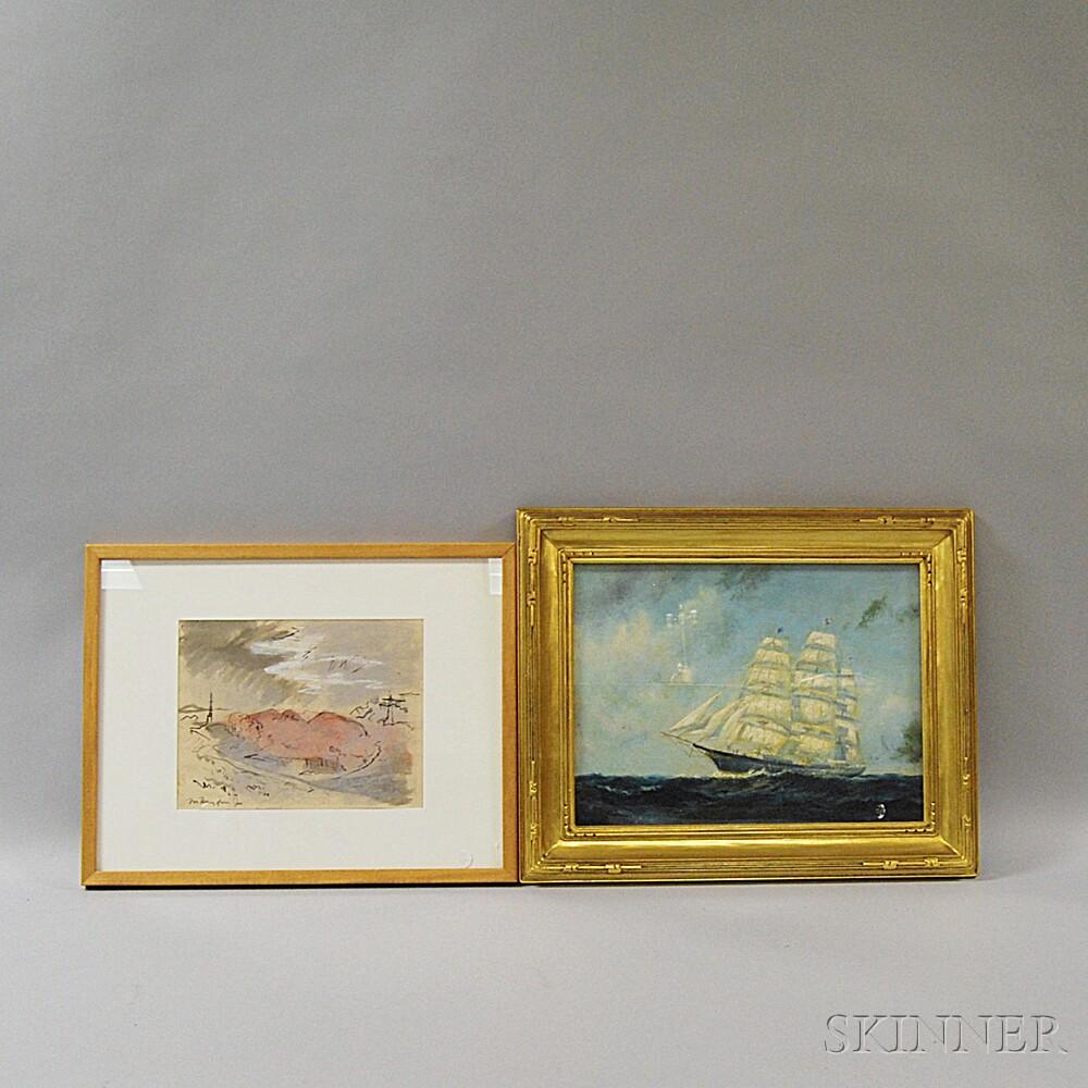Two Framed Works:      Frederick Leo Hunter (American, 1858-1943)