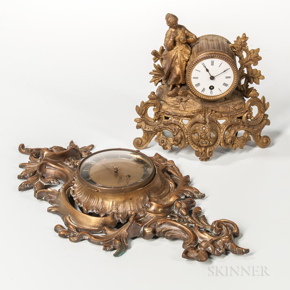 Louis XV-style Gilt-brass Cartel Clock and a Gilt-brass Figural Mantel Clock