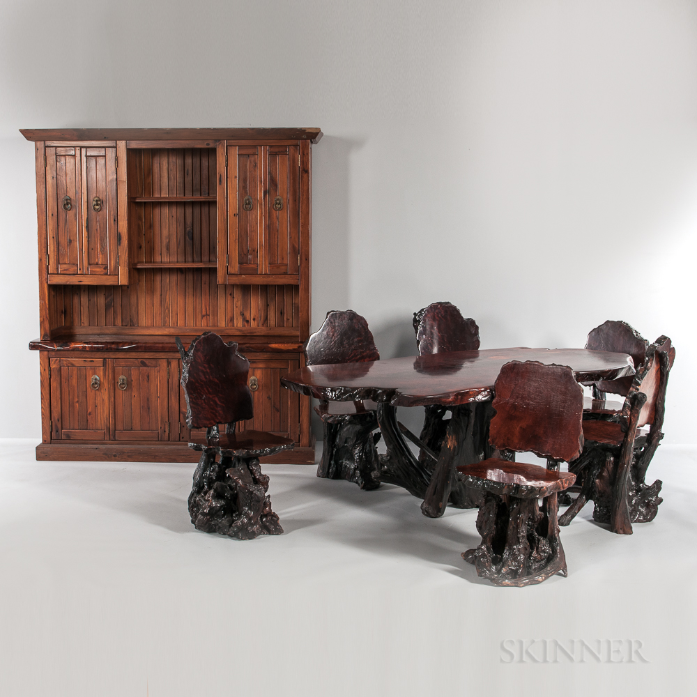 California Redwood Dining Table, Six Chairs, and Hutch