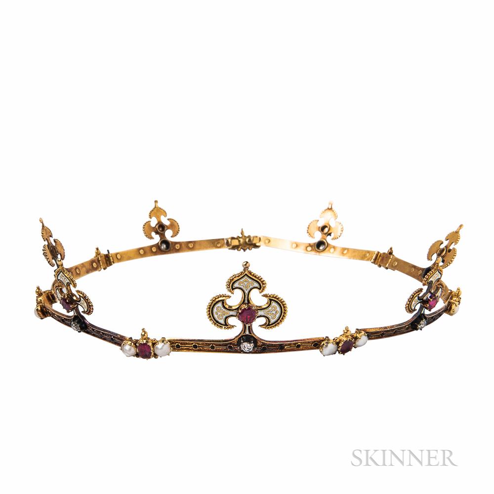 Renaissance Revival Gold Gem-set Circlet Tiara