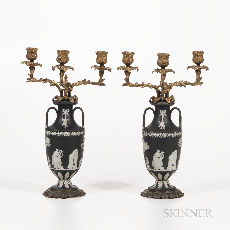 Pair of Wedgwood Solid Black Jasper Bronze-mounted Three-light Candelabra