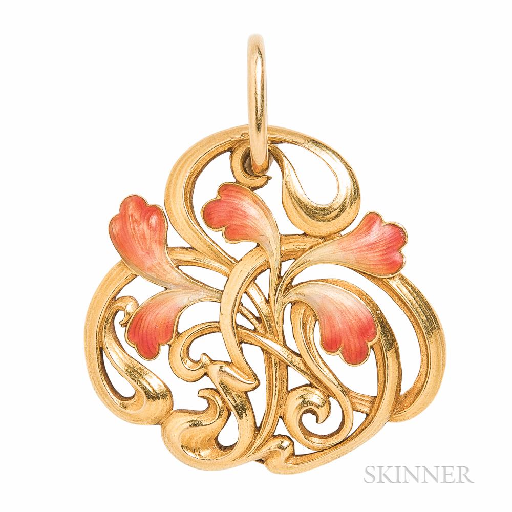 Art Nouveau Andre Rambour 18kt Gold and Enamel Pendant