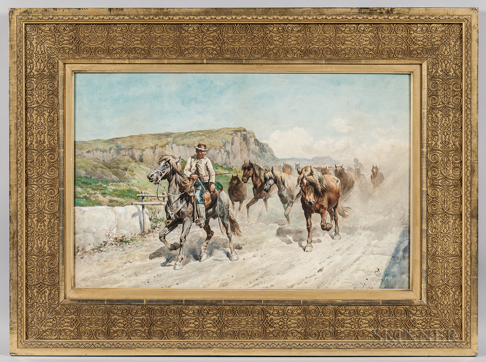 Enrico Henri Coleman (Italian, 1846-1911)    Horsemen Driving a Wild Herd
