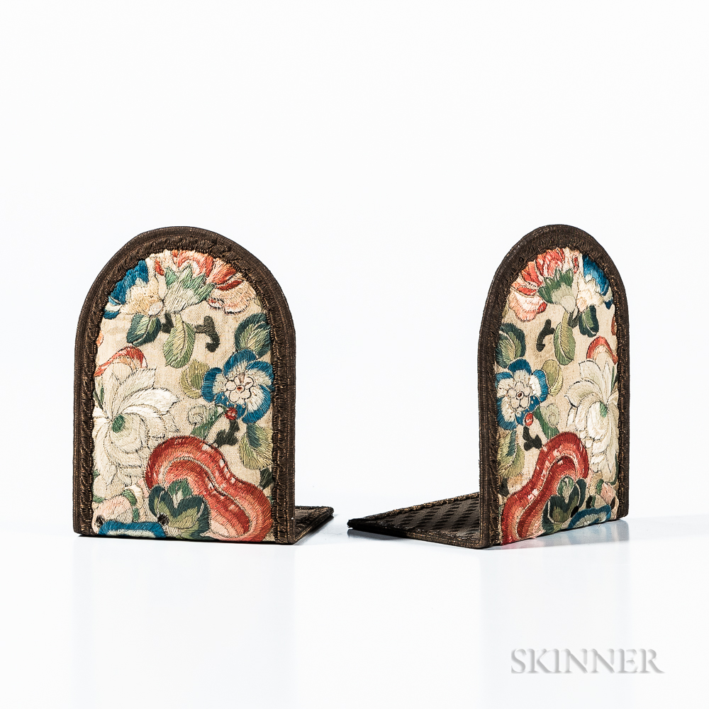 Silk Embroidered Bookends