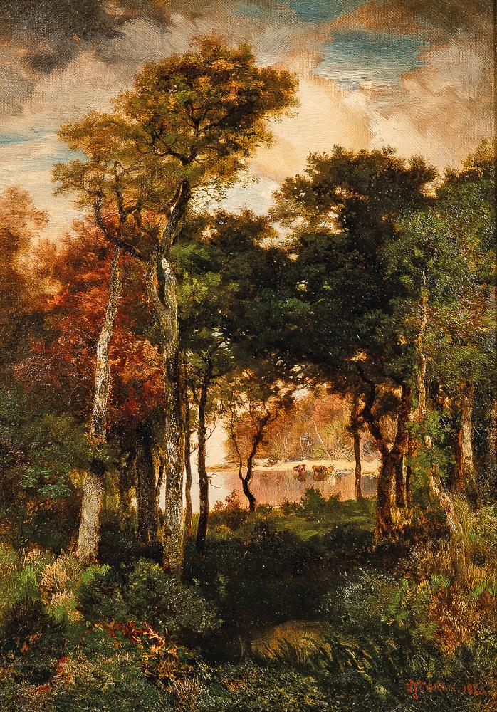 Thomas Moran (American, 1837-1926)      A Glimpse of Georgica Pond