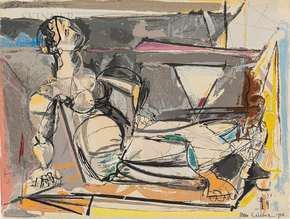 Max Weber (Russian/American, 1881-1961)      Reclining Woman