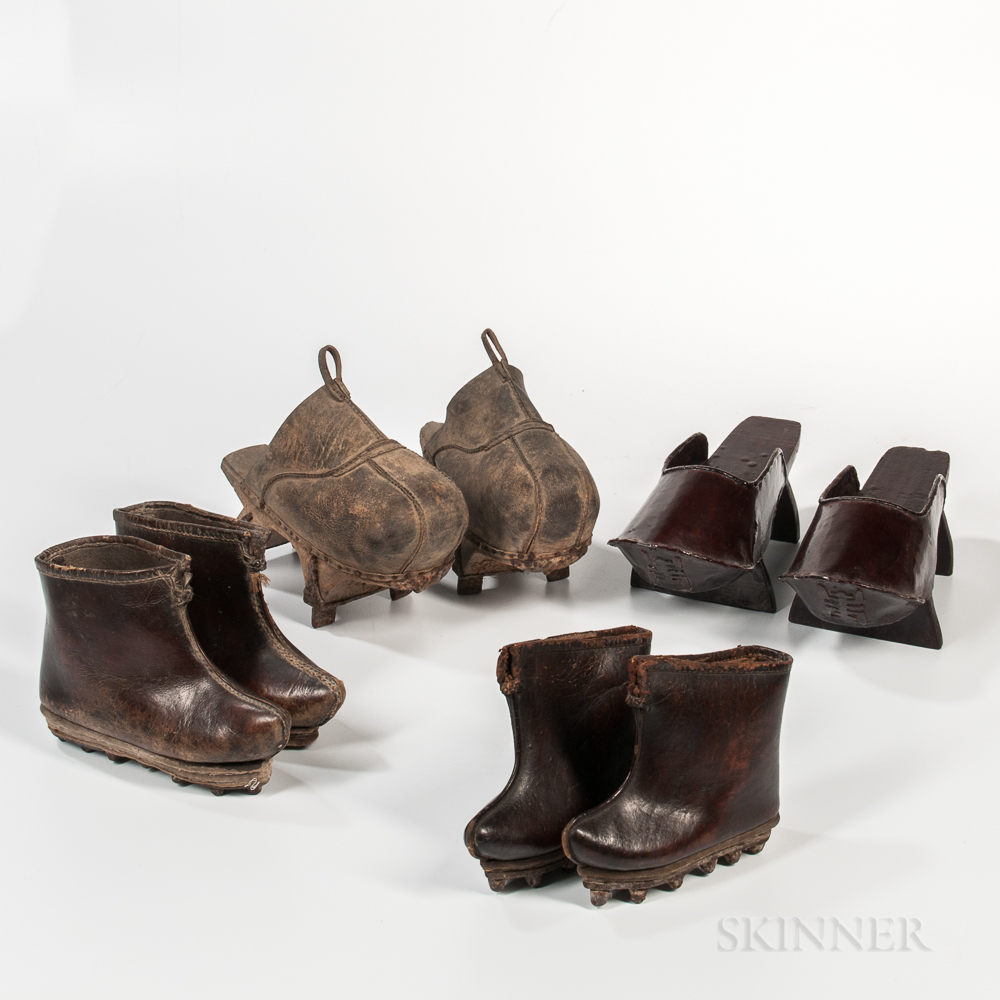 Four Pairs of Leather and Lacquer Shoes