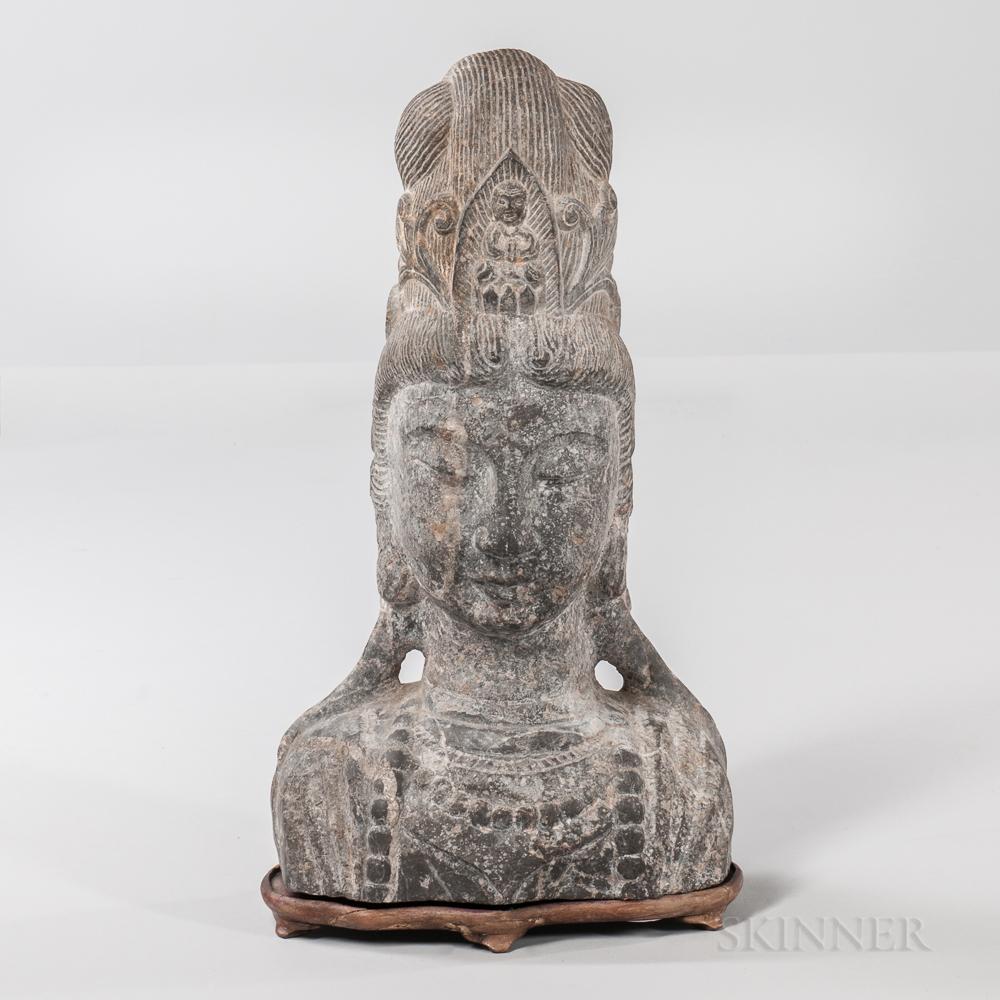 Limestone Bust of Guanyin
