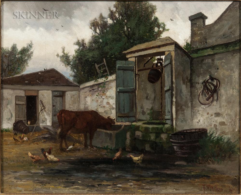 Frederick Dickinson Williams (American, 1829-1915)      Feeding Time on the Farm