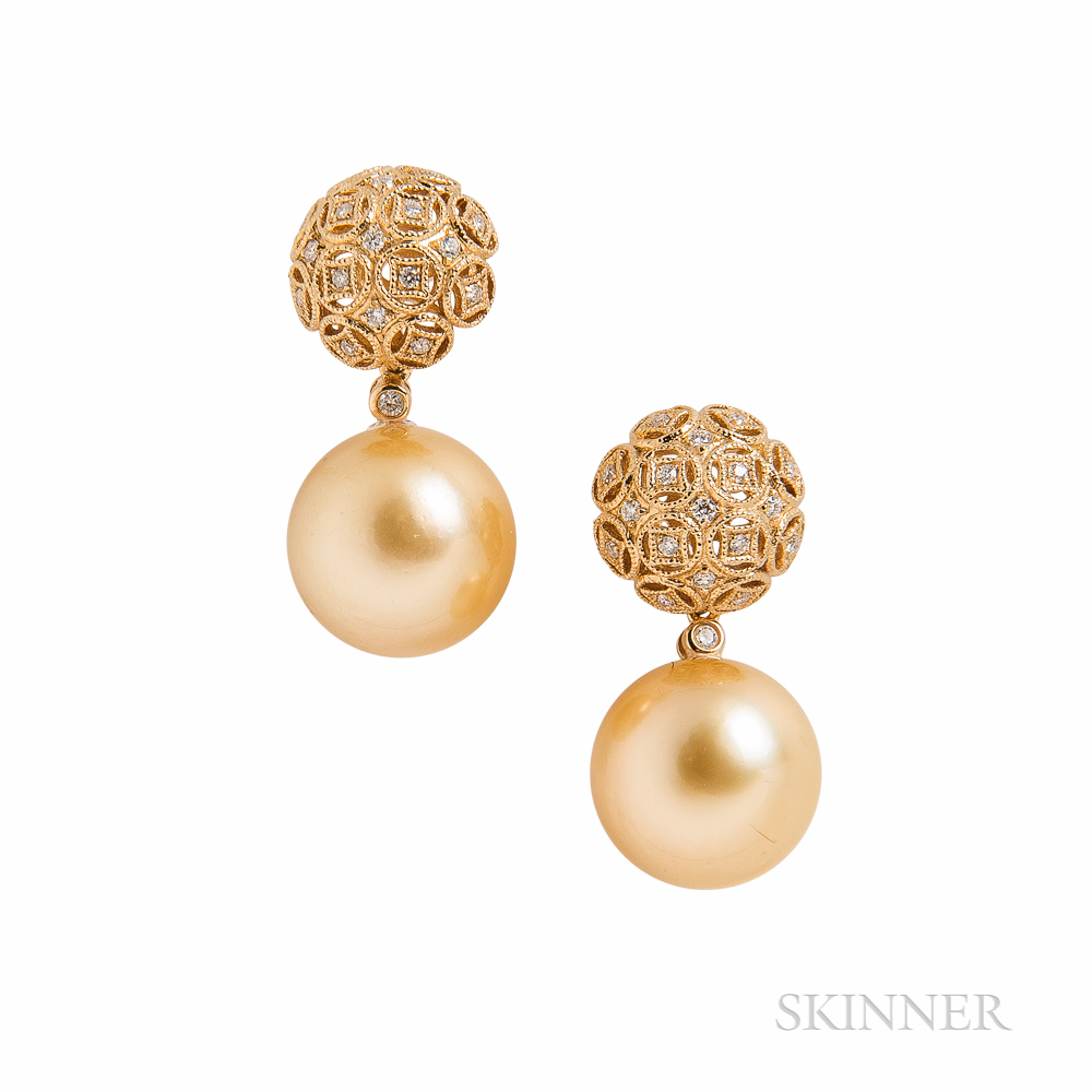 18kt Gold, Golden South Sea Pearl, and Diamond Earrings