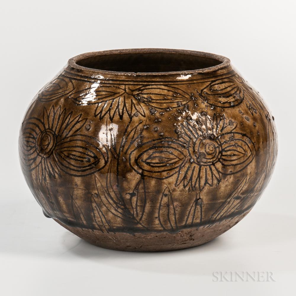 Brown-glazed Stoneware Jar