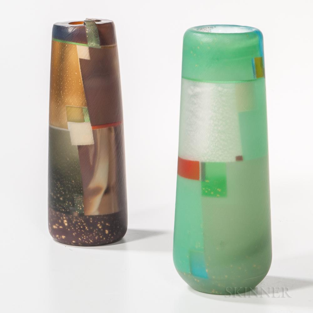 Two Takeshi Sano Art Glass Vases