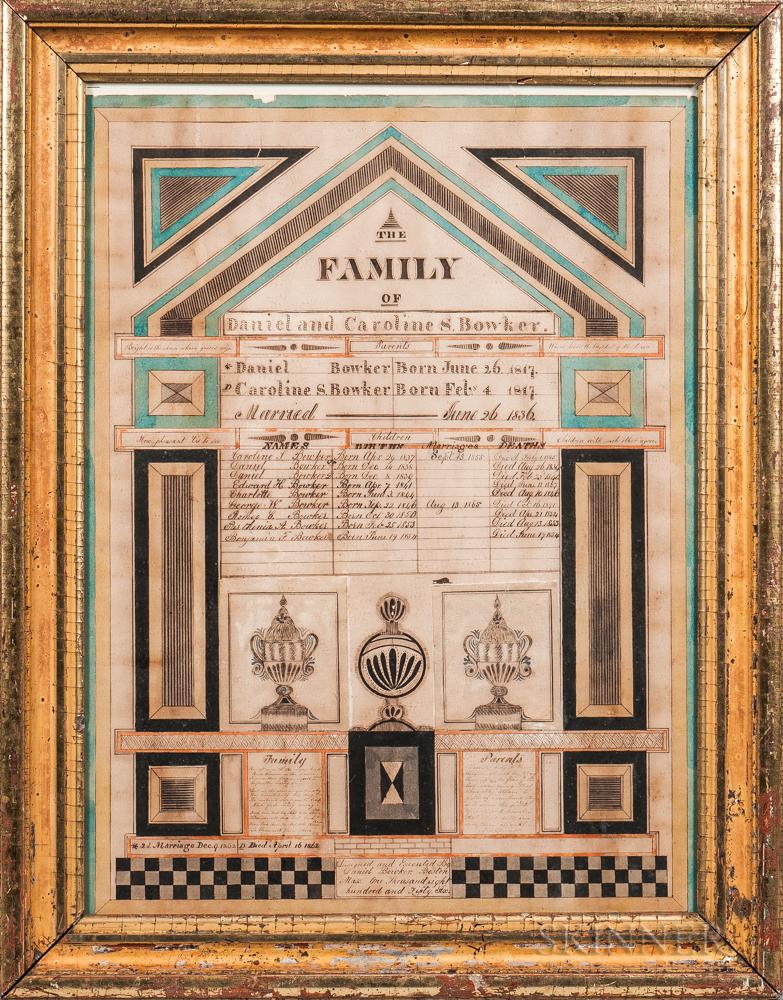 "Watercolor ""Bowker"" Family Record"
