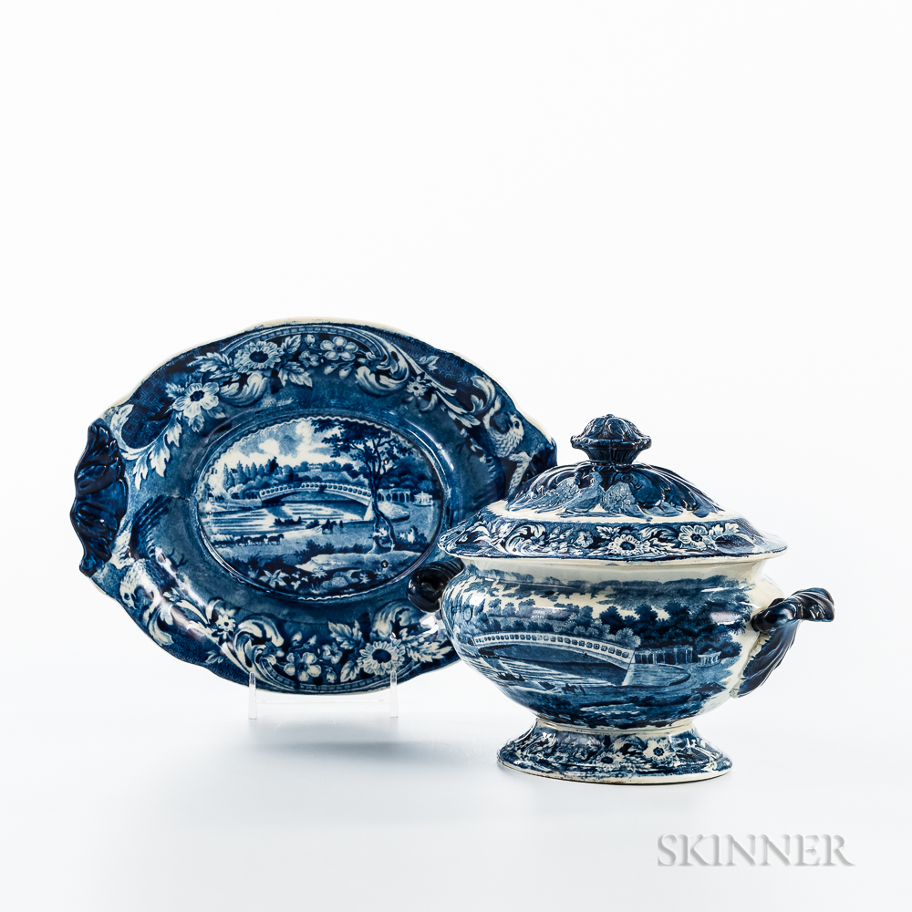 """Small Staffordshire Historical Blue Transfer-decorated """"Upper Ferry Bridge over the River Schuylkill"""" Tureen, Lid, and Undertray"""
