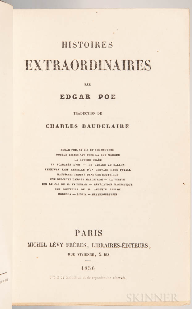 Poe, Edgar Allan (1809-1849) trans. Charles Baudelaire (1821-1867) Histoires Extraordinaires.