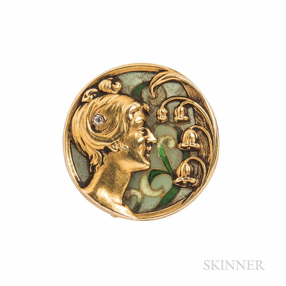 Art Nouveau Riker Bros. 14kt Gold and Plique-a-Jour Enamel Brooch