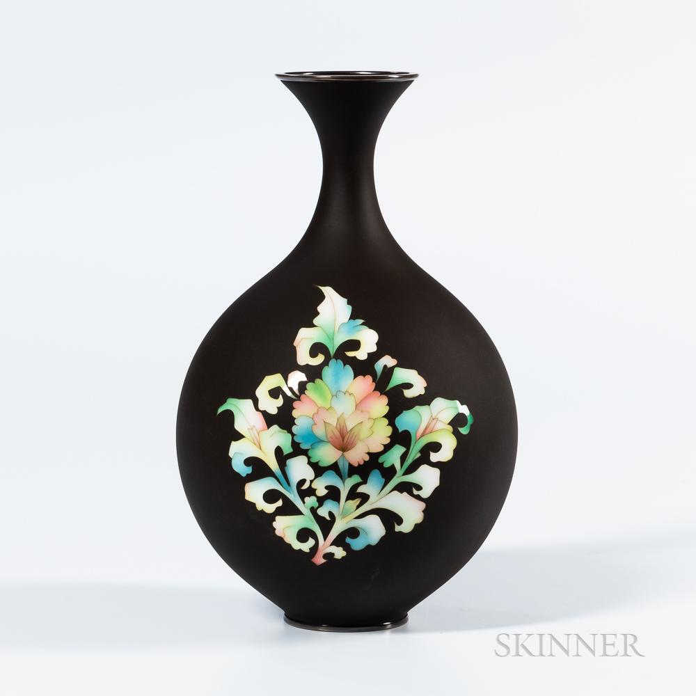 Matte Iron Brown Cloisonné Vase