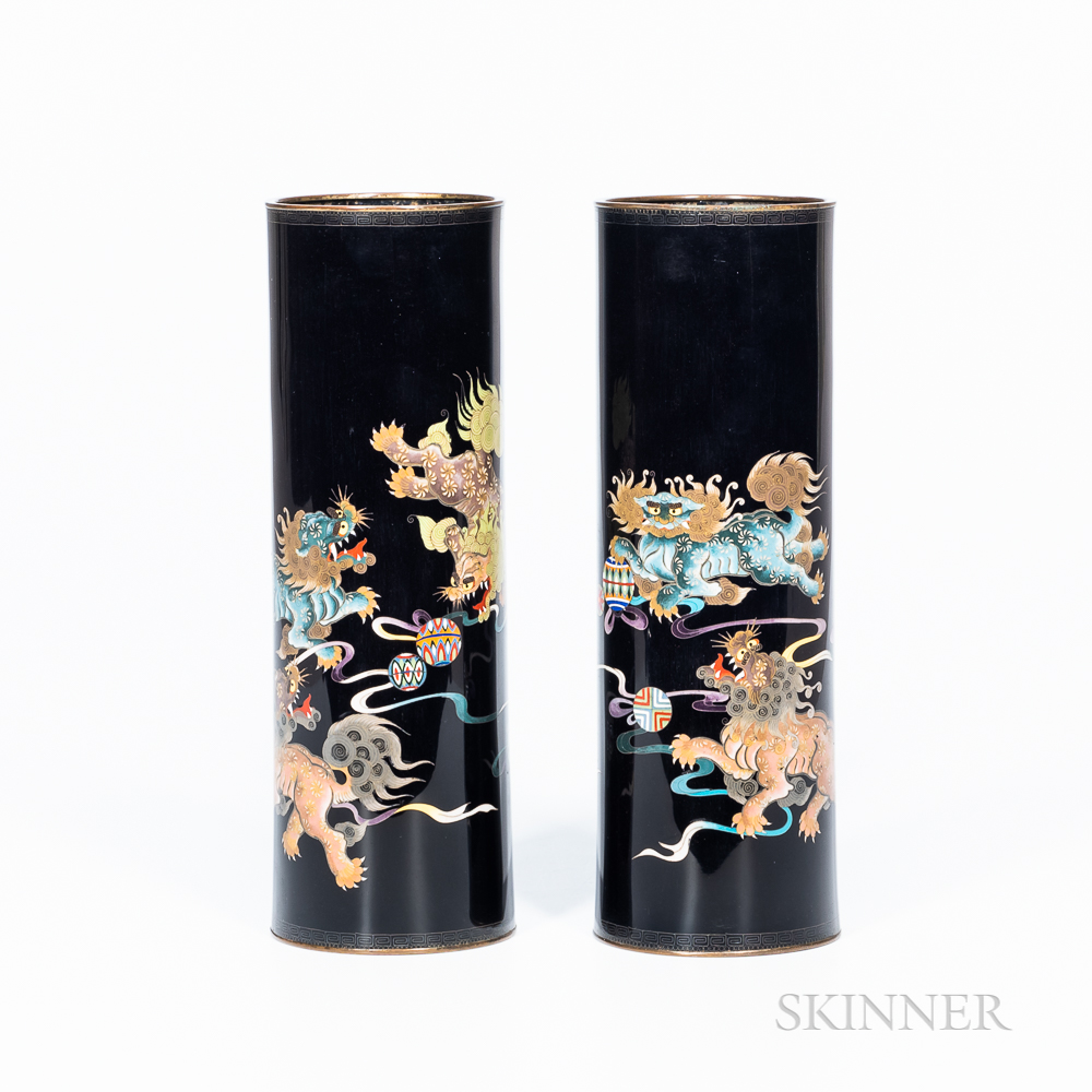 Pair of Black Cloisonné Vases