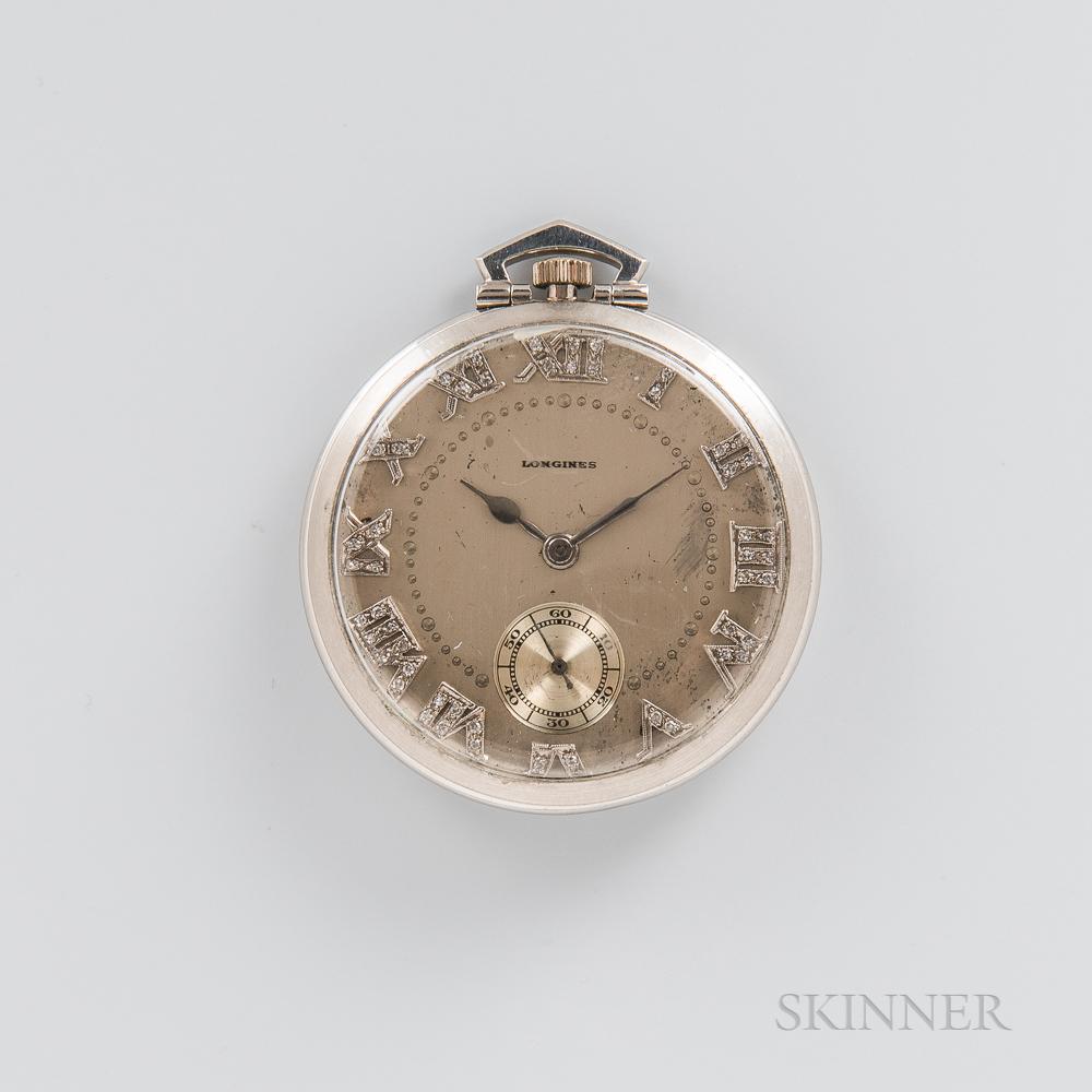 Longines Platinum and Diamond Open-face Watch