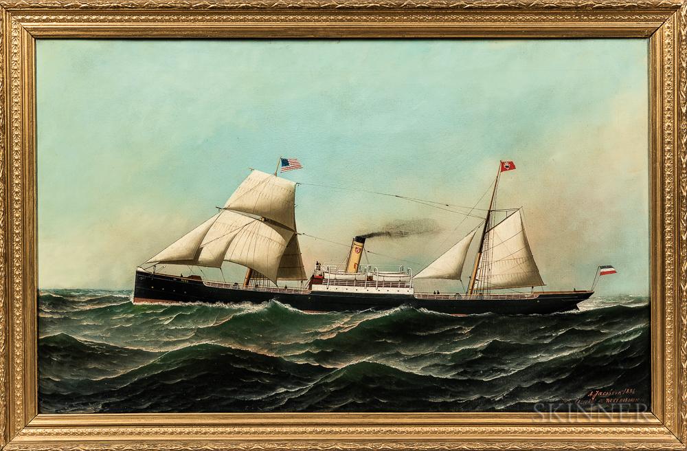 Antonio Nicolo Gasparo Jacobsen (Danish/American, 1850-1921)      Portrait of the Sailing Steamship Kiel