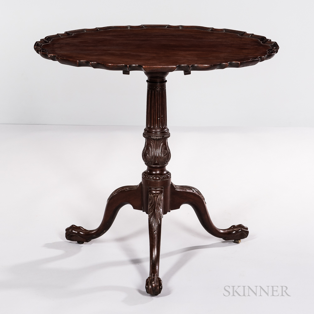 Rare Chippendale Carved Mahogany Piecrust Tilt-top Tea Table