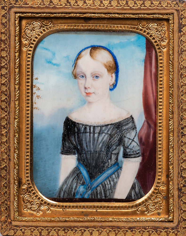 American School, Early 19th Century      Miniature Portrait of a Girl in a Black Dress